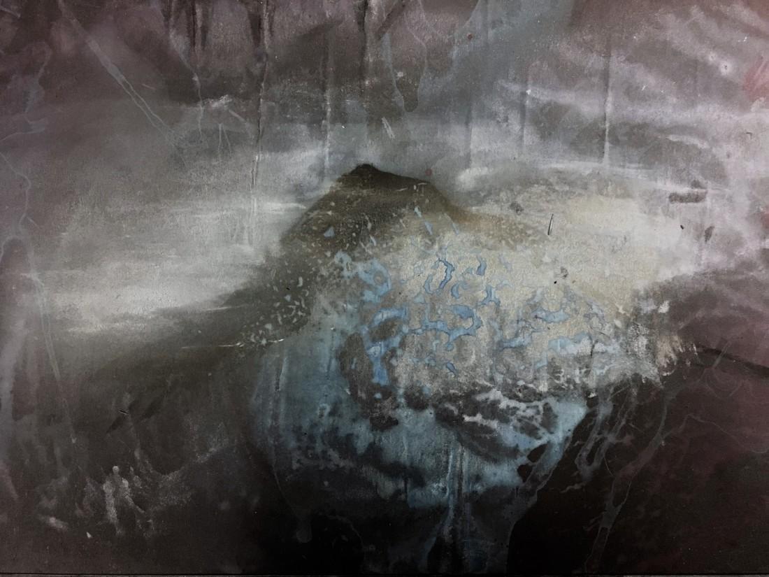 Neptuno contempla Pico.  Óleo e acrílico sobre papel. 21x17cm. Goulart, 2016
