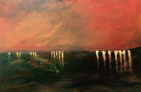 Horizonte singular factorizado, oil on canvas, 60x100cm, 2016, goulart art