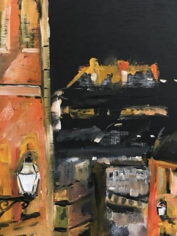 Lisboa (V) Calçada do Duque, oil on wood 40x30cm, 2017, goulart art