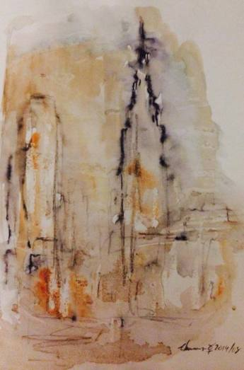 new york (X) watercolor, 21x15cm, 2014, goluart art colecção particular