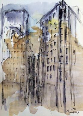 new york (II) Edifício Flatiron, watercolor, 15x10cm 2016, goulart art