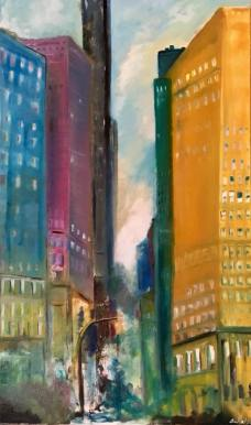 new york (IV) Avenidas Coloridas, oil on canvas, 60x100cm, 2017, goulart art