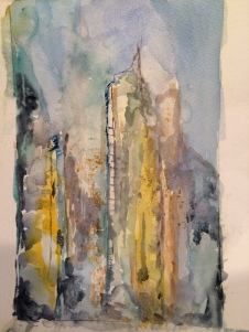 new york (IV), watercolor, 30x21cm, 2014, goulart art